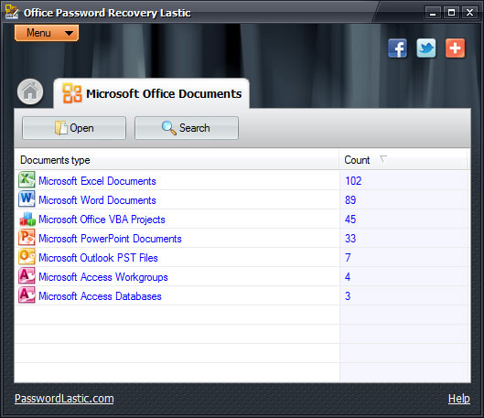 Click to view Office Password Recovery Lastic 1.0 screenshot